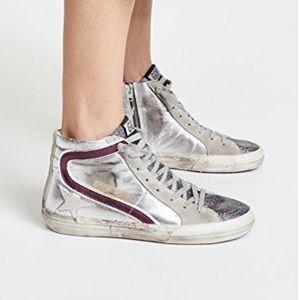 Golden Goose Slide Sneakers Silver/Glitter